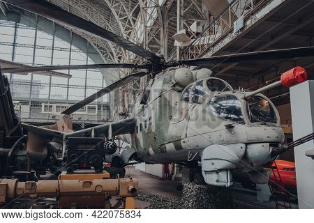 Brussels, Belgium - August 17, 2019: Mil Mi-24d Hind-d Attack Helicopter In The Royal Museum Of The