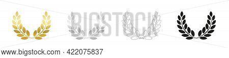Laurel Wreath Set, Golden, Silver, Outline And Black Version. Symbol For Triumph, Glory, Honor, Roya