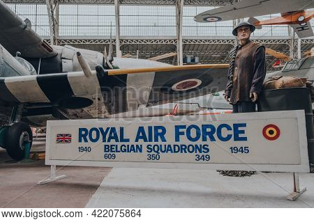 Brussels, Belgium - August 17, 2019: Royal Air Force Belgian Squadron Exhibit Inside The Royal Museu