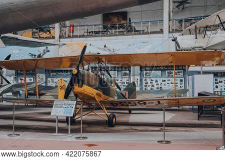Brussels, Belgium - August 17, 2019: De Havilland Dh.82 Tiger Moth British Biplane On Exhibit In The