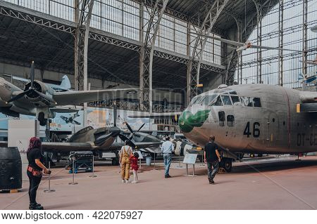 Brussels, Belgium - August 17, 2019: Visitors Looking At Fairchild C-119g Flying Boxcar By Kaiser In