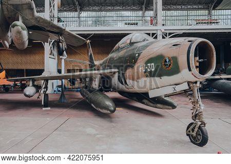 Brussels, Belgium - August 17, 2019: Republic F-84f Thunderstreak Fu-30 Aircraft On Exhibit At The R
