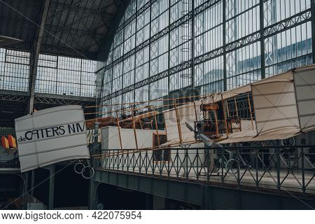 Brussels, Belgium - August 17, 2019: A Replica Of Voisin De Caters N Iv Antique Military Airplane In