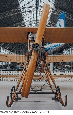 Brussels, Belgium - August 17, 2019: César Battaille Triplane On Exhibit At The Royal Museum Of The