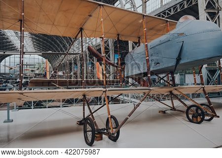 Brussels, Belgium - August 17, 2019: Farman Mf-11a2 Shorthorn French Aircraft In The Royal Museum Of