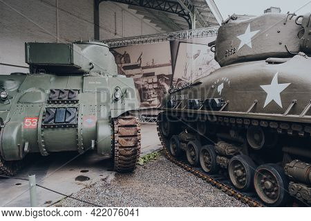 Brussels, Belgium - August 17, 2019: Medium Tanks On Outdoor Exhibit At The Royal Museum Of The Arme