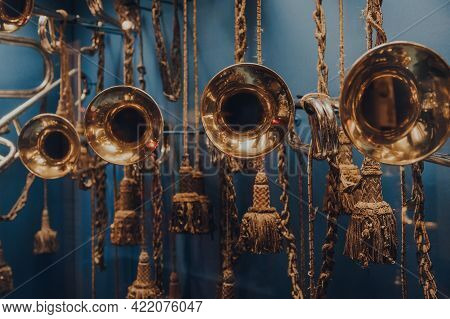 Brussels, Belgium - August 17, 2019: Trumpets On The Exhibit Inside The Royal Museum Of The Armed Fo