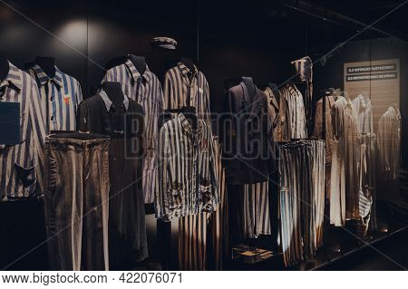 Brussels, Belgium - August 17, 2019: Striped Pyjamas Exhibit At The War, Occupation, Liberation New