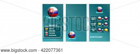 Vertical Banner Of The European Football Championship 2020 For Social Networks. Banner Of Slovakia's