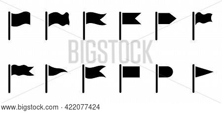 Set Of Icons Of Black Flags, Pennants Of Different Shapes. Signs, Symbols, Markers, Pointers To Indi
