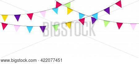 Garland With Flags. Holidays Design And Decoration. Birthday, Carnival, Party, Festival. Triangular