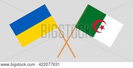 Crossed Flags Of Algeria And The Ukraine