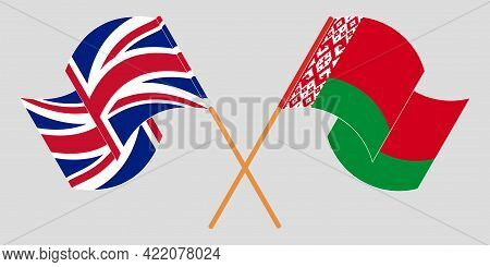 Crossed And Waving Flags Of Belarus And The Uk
