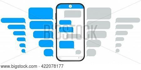 Sms Messages, Chat On The Phone. Correspondence Speech Bubbles. Communication, Dialogue On Social Ne