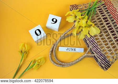 Calendar For June 9: Cubes With The Numbers 0 And 9, The Name Of The Month Of June In English, Yello