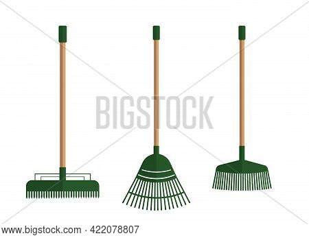 Illustration Of A Set Of Rakes For Cleaning. Garden Tools.