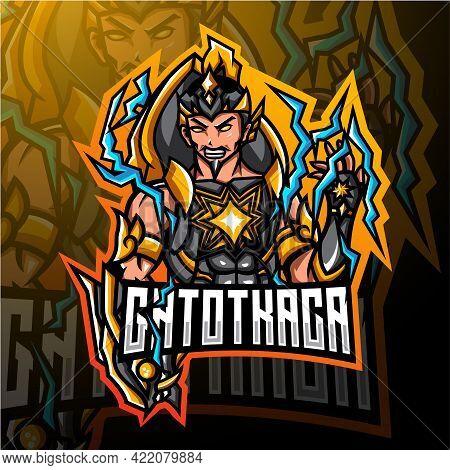 Gatotkaca Esport Mascot Logo Design With Text