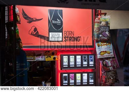 Belgrade, Serbia - April 3, 2021: Selective Blur On Posters Advertising For Winston Cigarettes In Be