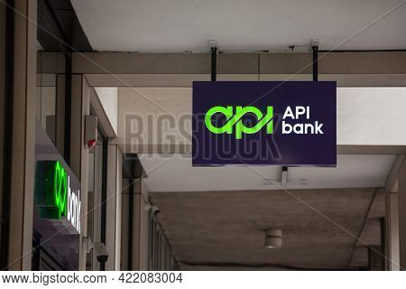 Belgrade, Serbia - April 17, 2021: Selective Blur On Api Bank Banka Logo On Their Newly Opened Offic