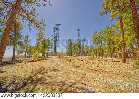 Tv, Radio, And Cell Phone Towers Perched On The Summit Of Mingus Mountain Near Jerome Arizona. These