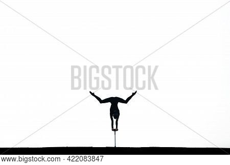 Circus Artist Doing Handstand Isolated On White, Copy Space. Concept Of Individuality, Creativity An