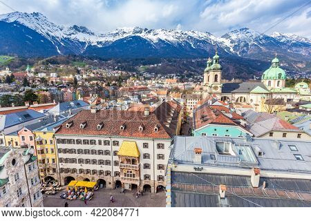 Innsbruck, Austria - 11 April 2015 - Aerial View Of Innsbruck Old Town Shows The Famous Goldenes Dac