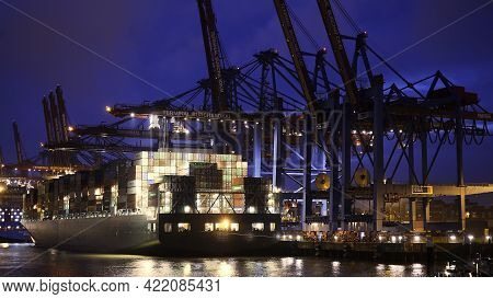 The Impressive Port Of Hamburg With Its Huge Container Terminals - Hamburg, Germany - May 10, 2021