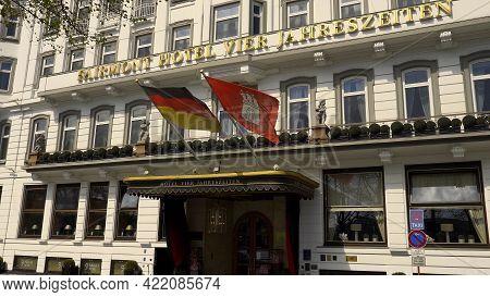 Famous Hotel Four Seasons Hotel In Hamburg Called Vier Jahreszeiten - Hamburg, Germany - May 10, 202