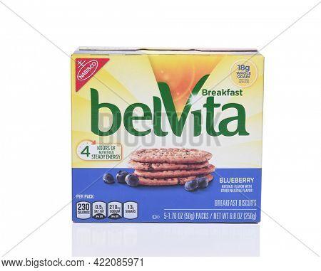 IRVINE, CA - SEPTEMBER 22, 2017: BelVita Blueberry Breakfast Biscuits. From Nabisco a line of crunchy nutritiuos breakfast biscuits.