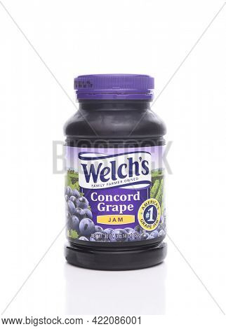 IRVINE, CALIFORNIA - JANUARY 22, 2017: Welchs Concord Grape Jam. Welch's is known for its grape juices, jams and jellies made from dark Concord grapes.