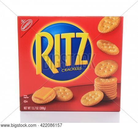 IRVINE, CA - FEBRUARY 19, 2015: A box Ritz Crackers. Introduced in 1934 by Nabisco, the circular crackers are lightly salted with scalloped edges.