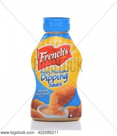IRVINE, CA - FEBRUARY 19, 2015: French's Honey Mustard Dipping Sauce. French's introduced their mustard at the 1904 St. Louis World's Fair.