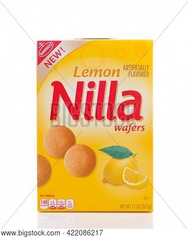 IRVINE, CALIFORNIA - MAY 23, 2018: A box of Nabisco Lemon Nilla Wafers. A zesty citrus touch is added to the traditional wafer cookie.