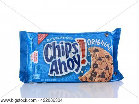 IRVINE, CA - JUNE 14, 2015: Nabisco Chips Ahoy Original Cookies. Originally known as the National Biscuit Company, Nabisco is an American manufacturer of cookies and snacks.
