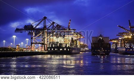 The Impressive Port Of Hamburg With Its Huge Container Terminals By Night - Hamburg, Germany - May 1