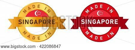 Made In Singapore Label Stamp For Product Manufactured By Singaporean Company Seal Golden Ribbon And