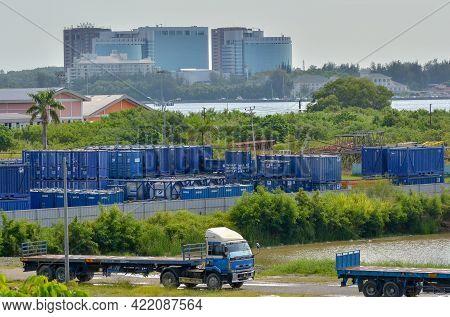 Labuan,malaysia-may 24,2021:view Of  Open Yard Storage At Asian Supply Base Asb Yard At Ranca Ranca,