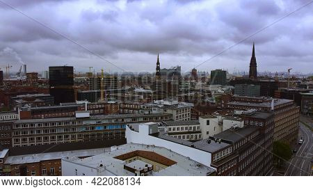 Aerial View Over The City Center Of Hamburg - Aerial Photography - City Of Hamburg, Germany - May 10
