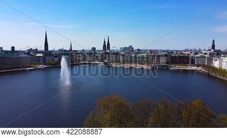 Famous Fountain On Alster Lake In The City Center Of Hamburg - Aerial Photography - City Of Hamburg,