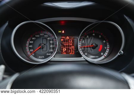 Novosibirsk, Russia - May 29, 2021: Peugeot 3007, Car Dashboard With White  Backlight: Odometer, Spe