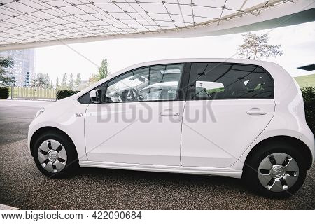 Wolfsburg, Germany - June 19, 2016: Volkswagen E-up Electric Car On The City Streets. Volkswagen Is