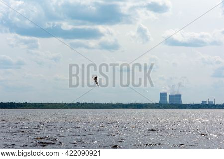 View Of The Nuclear Power Plant. The Coast Of The Gulf Of Finland. The Cooling Towers Are Floating.