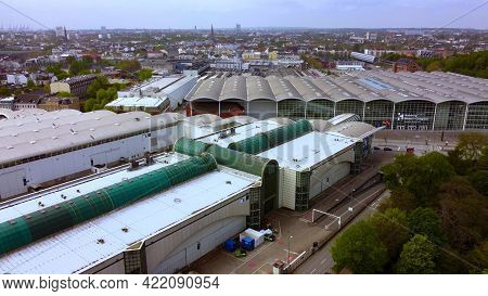 Aerial View Over The Cch - The Congress Center Hamburg - Aerial Photography - City Of Hamburg, Germa