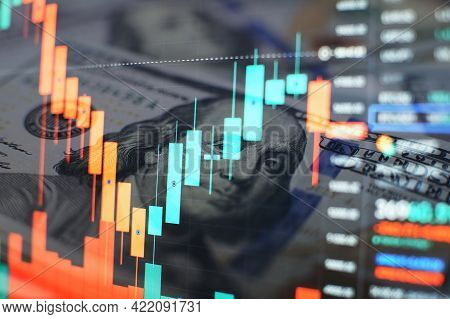 Financial Data On A Monitor. Business Statistics And Analytics, Glowing Sheet Beznes Statistics Of E