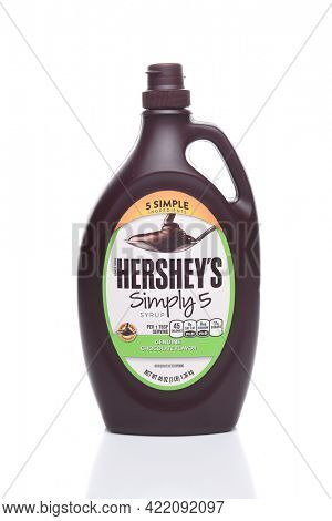 IRVINE, CALIFORNIA - AUGUST 21, 2017:  Hersheys Simply 5 Syrup. Hersheys new replacement for their traditional Chocolate Syrup with all Non-GMO ingredients.