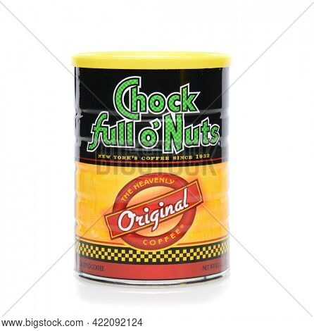 IRVINE, CA - JUNE 23, 2014: A can of Chock Full O' Nuts Coffee. The chain was founded by William Black 1926, an immigrant who sold nuts in Times Square to theater goers.