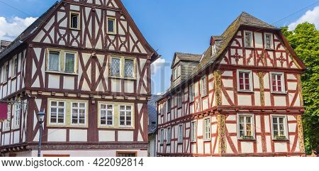 Panorama Of Half Timbered Houses In The Historic Center Of Limburg An Der Lahn, Germany