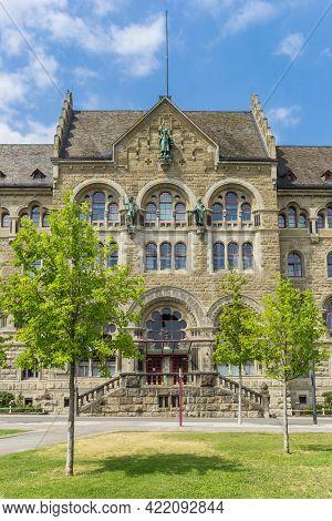 Front Facade Of The Oberlandesgericht Building In Koblenz, Germany