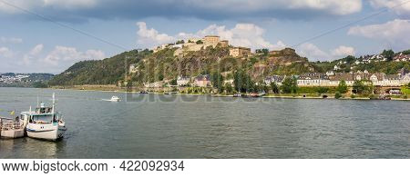 Panorama Of The River Rhine And The Historic Fortress In Koblenz, Germany