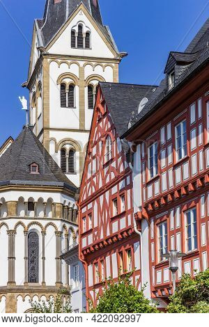 Severus Church And Half Timbered House In Boppard, Germany
